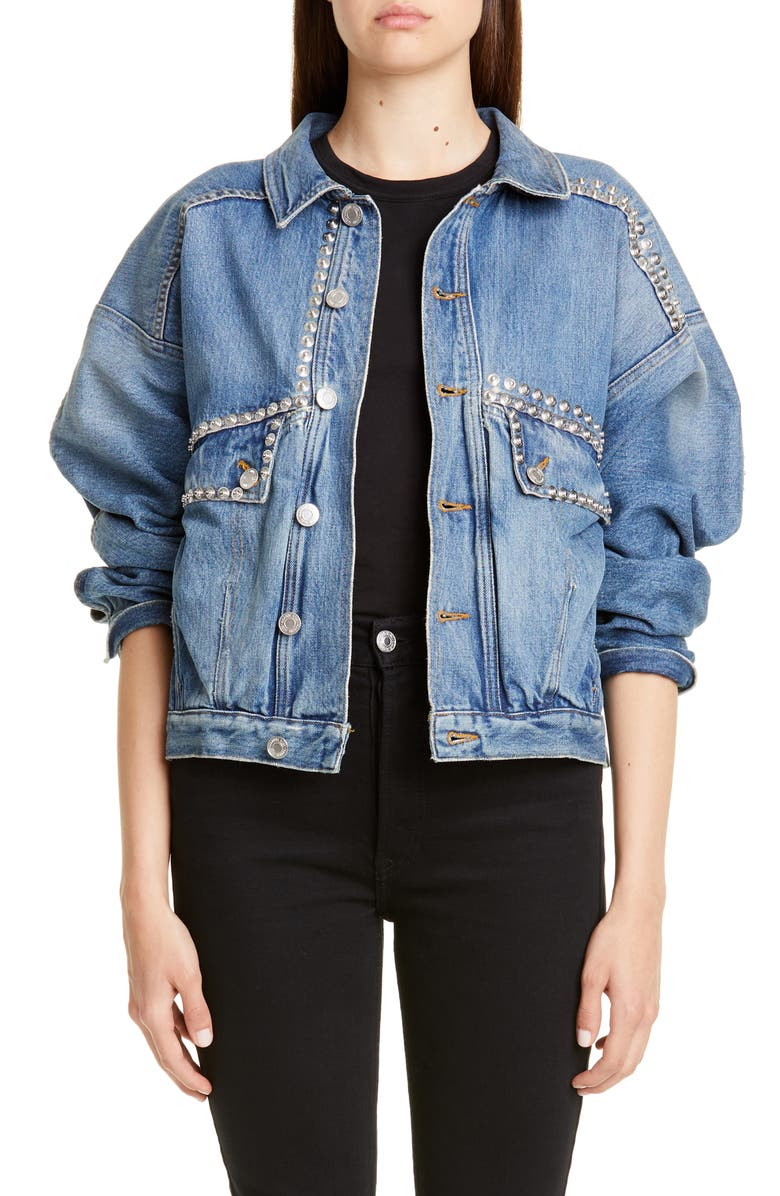 MARTINE ROSE Displaced Denim Jacket, Main, color, INDIGO