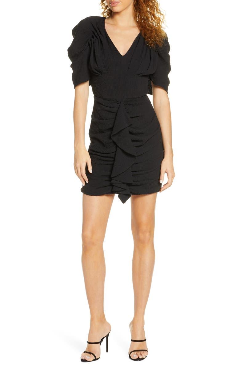 C/MEO COLLECTIVE C/MEO Soaked Ruffle Minidress, Main, color, BLACK
