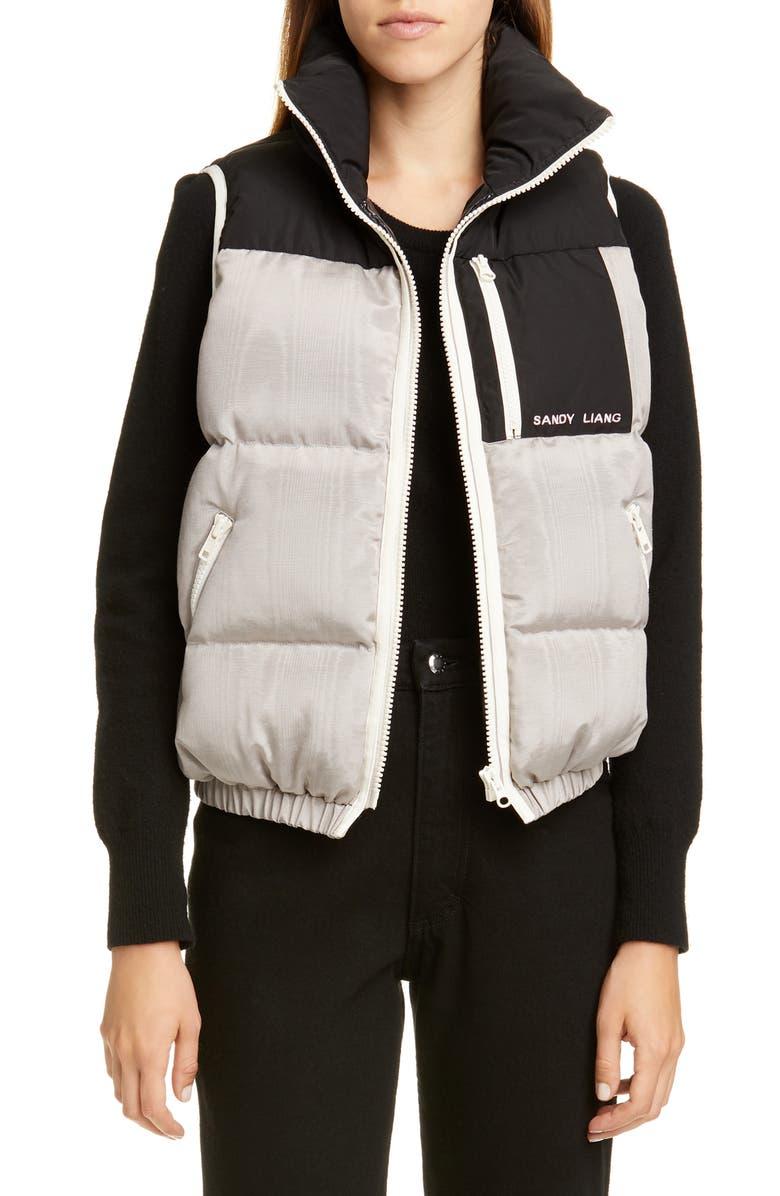 SANDY LIANG Arya Moiré Puffer Vest, Main, color, SILVER