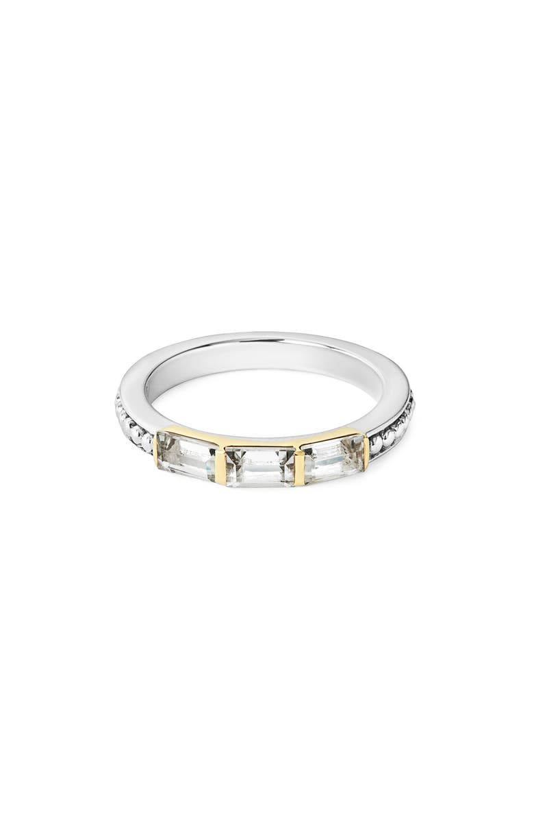 LAGOS Gemstone Baguette Stackable Ring, Main, color, SILVER/ 18K GOLD/ WHITE TOPAZ