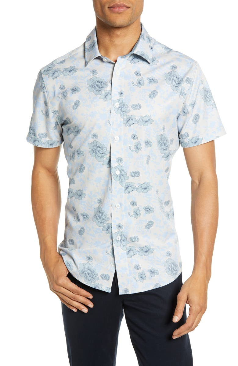 VINCE CAMUTO Slim Fit Floral Print Knit Shirt, Main, color, LIGHT BEIGE FLORAL PRINT