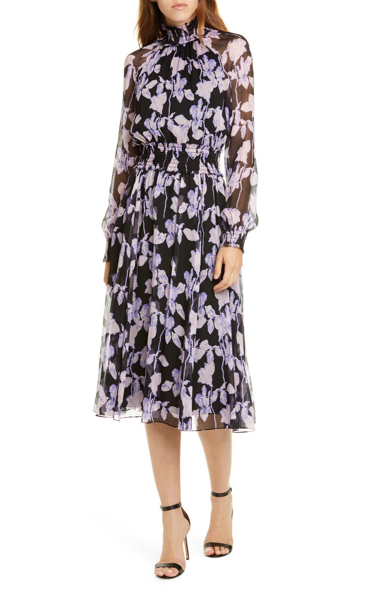 DVF Athena Floral Long Sleeve Silk Georgette Dress, Main, color, MIDNIGHT FOREST BLACK
