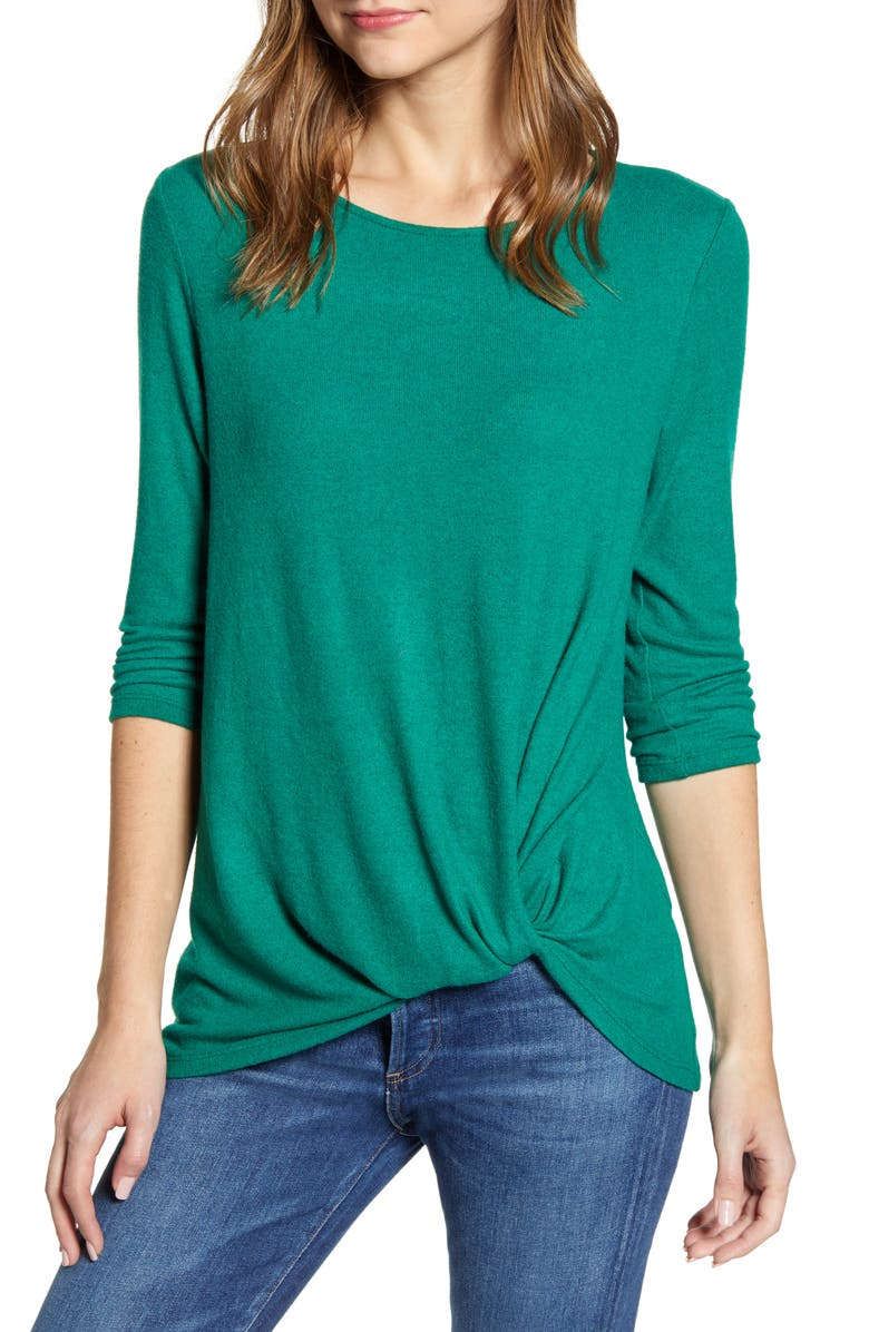 GIBSON Cozy Twist Front Pullover, Main, color, FOREST
