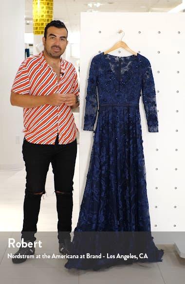 Long Sleeve Floral Appliqué Mesh Gown, sales video thumbnail