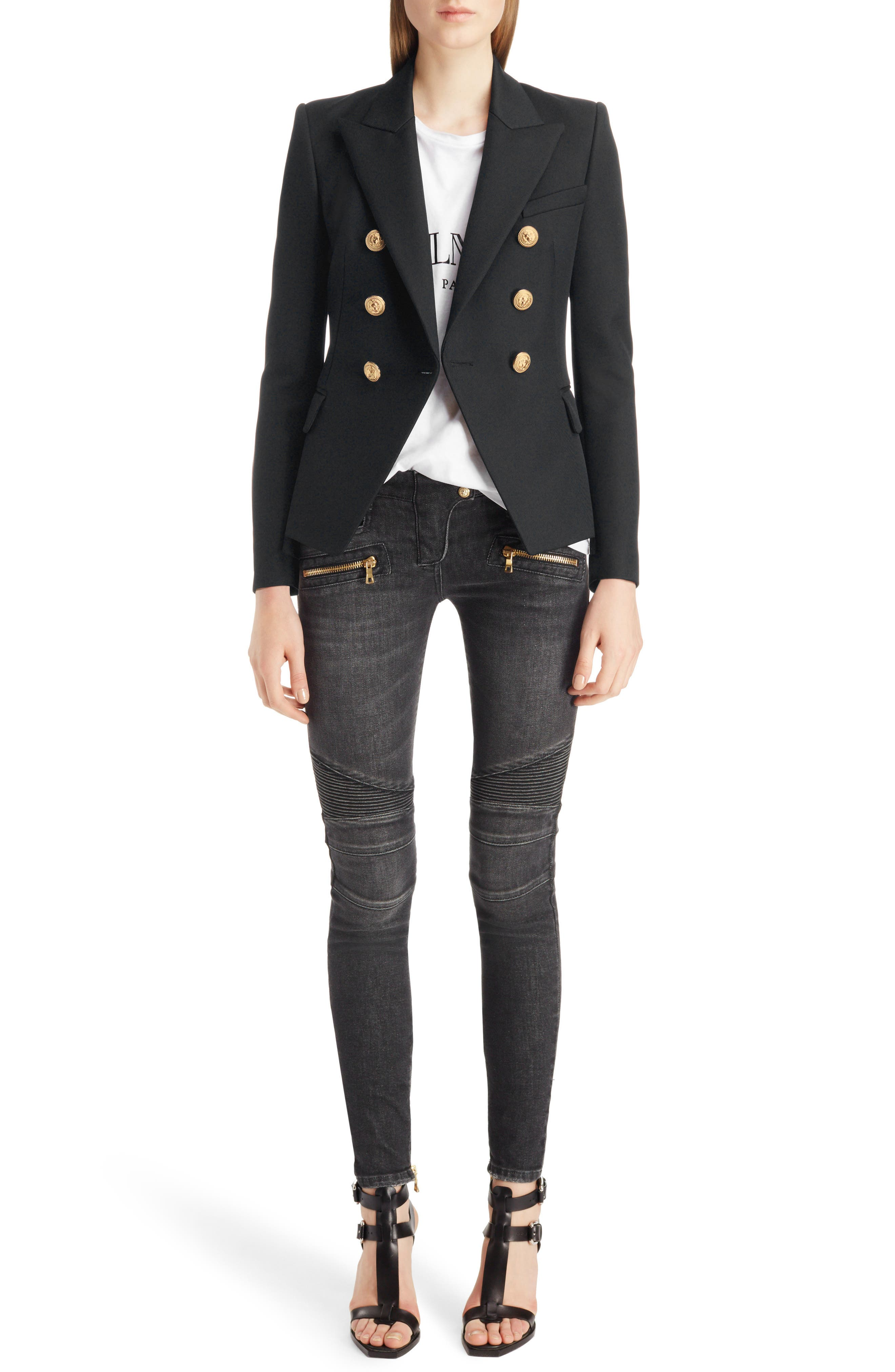 ,                             Double Breasted Wool Blazer,                             Alternate thumbnail 6, color,                             BLACK/GOLD