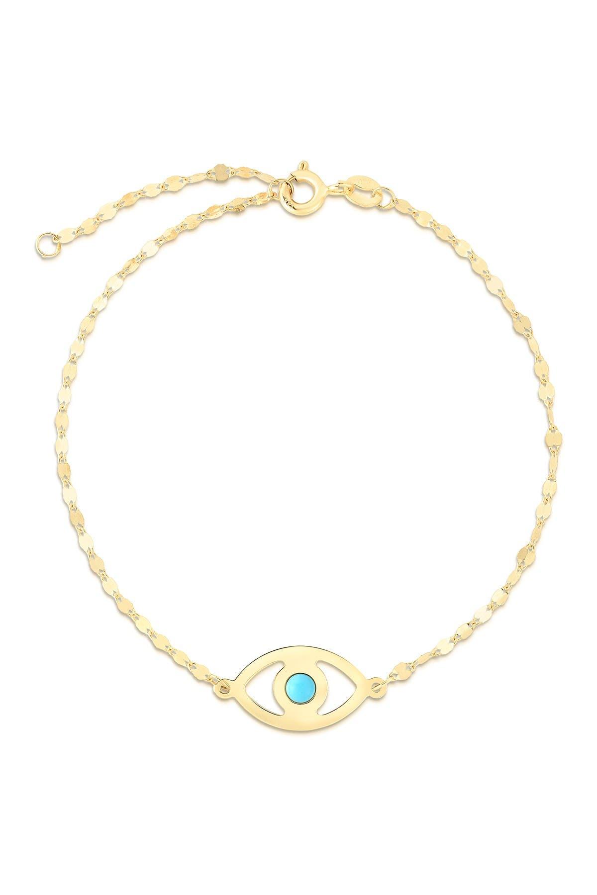 Image of Sphera Milano 14K Yellow Gold Plated Sterling Silver Evil Eye Bracelet