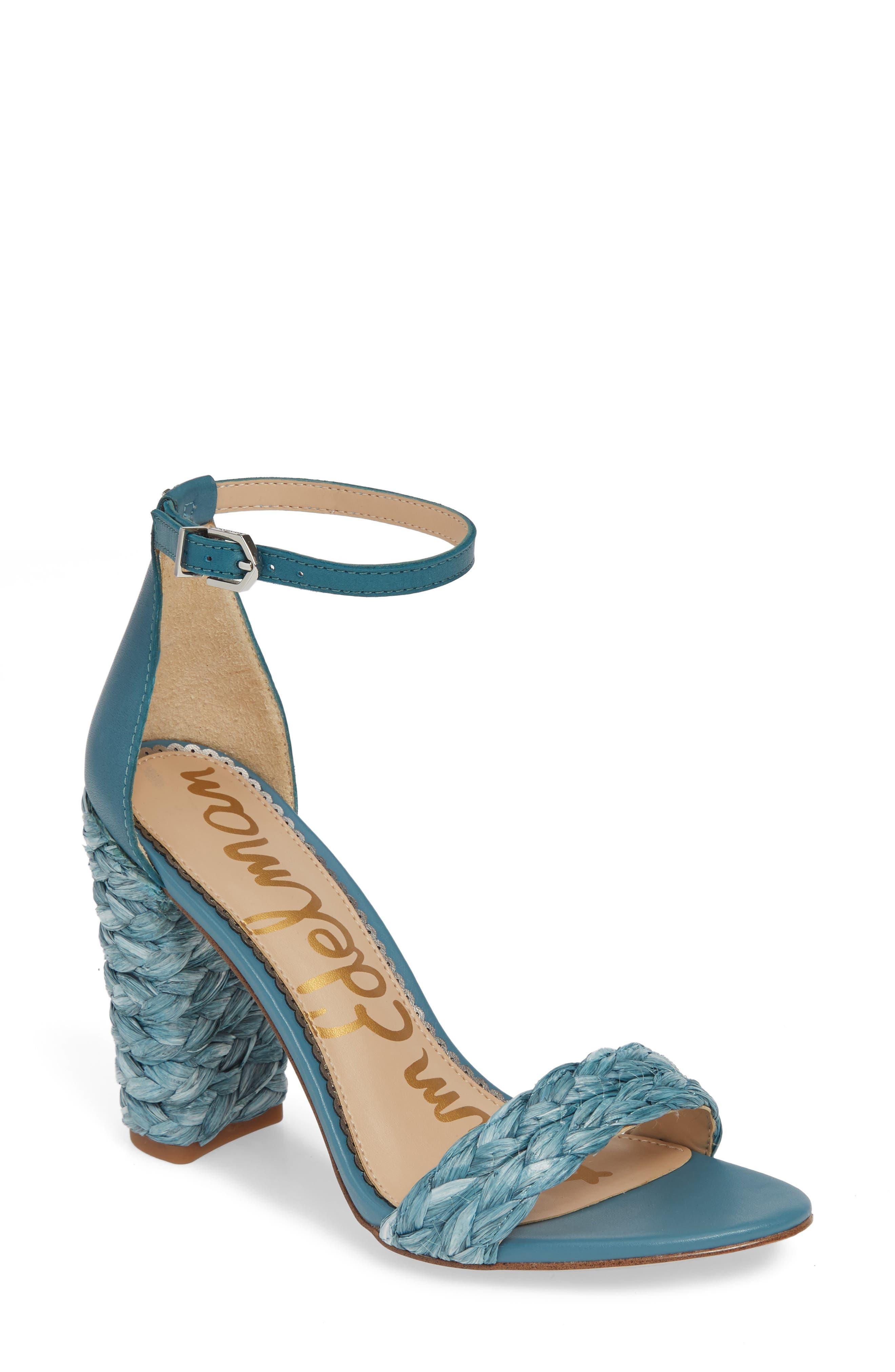 Sam Edelman Yoana Woven Trim Sandal- Blue