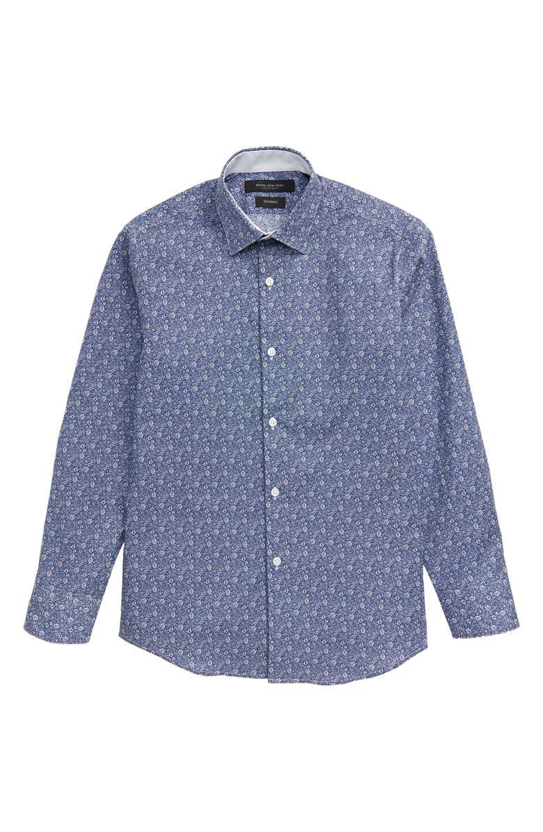 ANDREW MARC Floral Print Dress Shirt, Main, color, BLUE