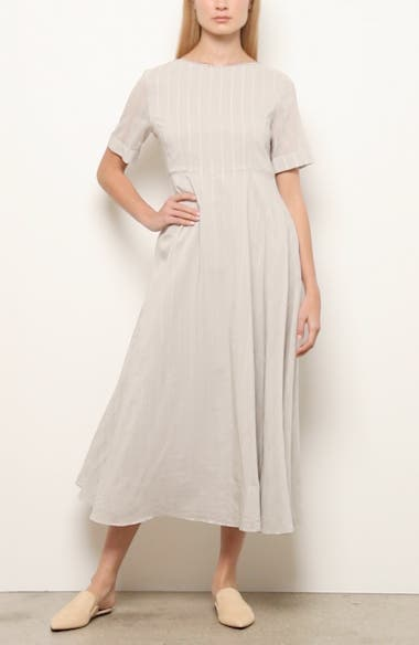 Stripe Cotton & Silk Midi Dress, video thumbnail