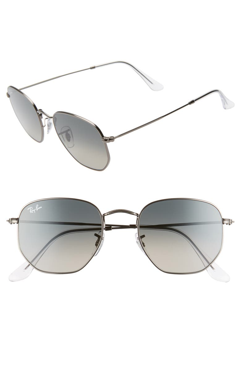 RAY-BAN 51mm Aviator Sunglasses, Main, color, GUNMETAL/ GREY GRADIENT