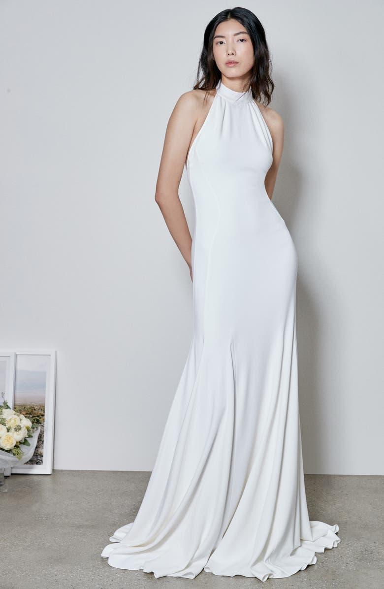 STELLA MCCARTNEY F18 Magnolia Halter Wedding Dress, Main, color, WHITE