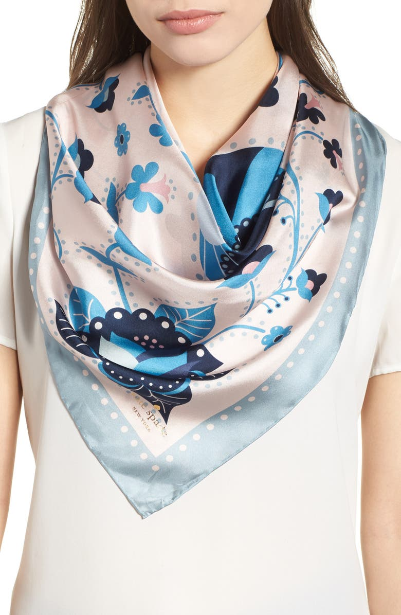 KATE SPADE NEW YORK raccoon silk square scarf, Main, color, 699