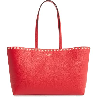 Valentino Garavani Small Rockstud Leather Tote - Red