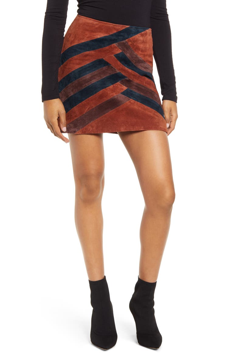 BLANKNYC Colorblock Suede Miniskirt, Main, color, 200