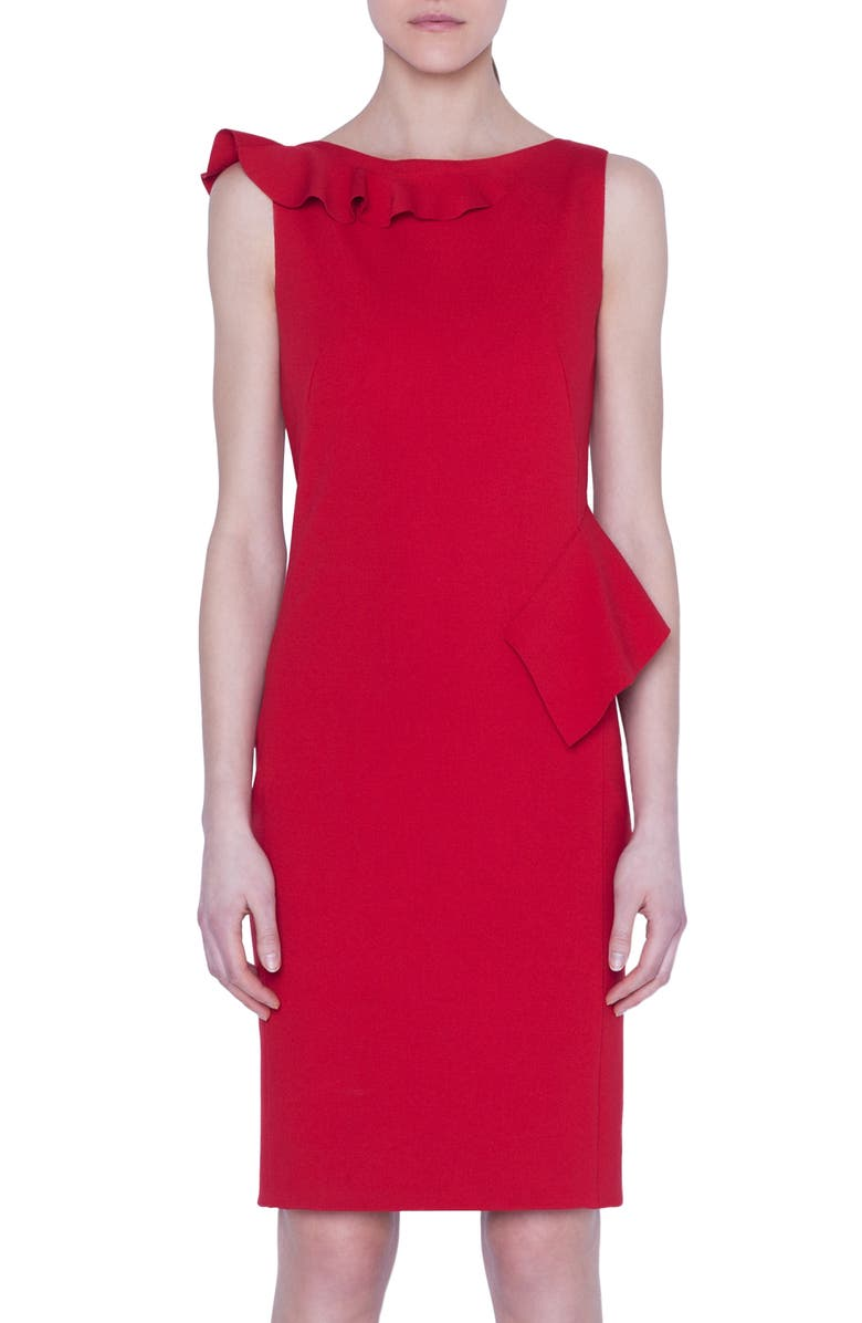 AKRIS PUNTO Ruffle Detail Jersey Dress, Main, color, CRANBERRY