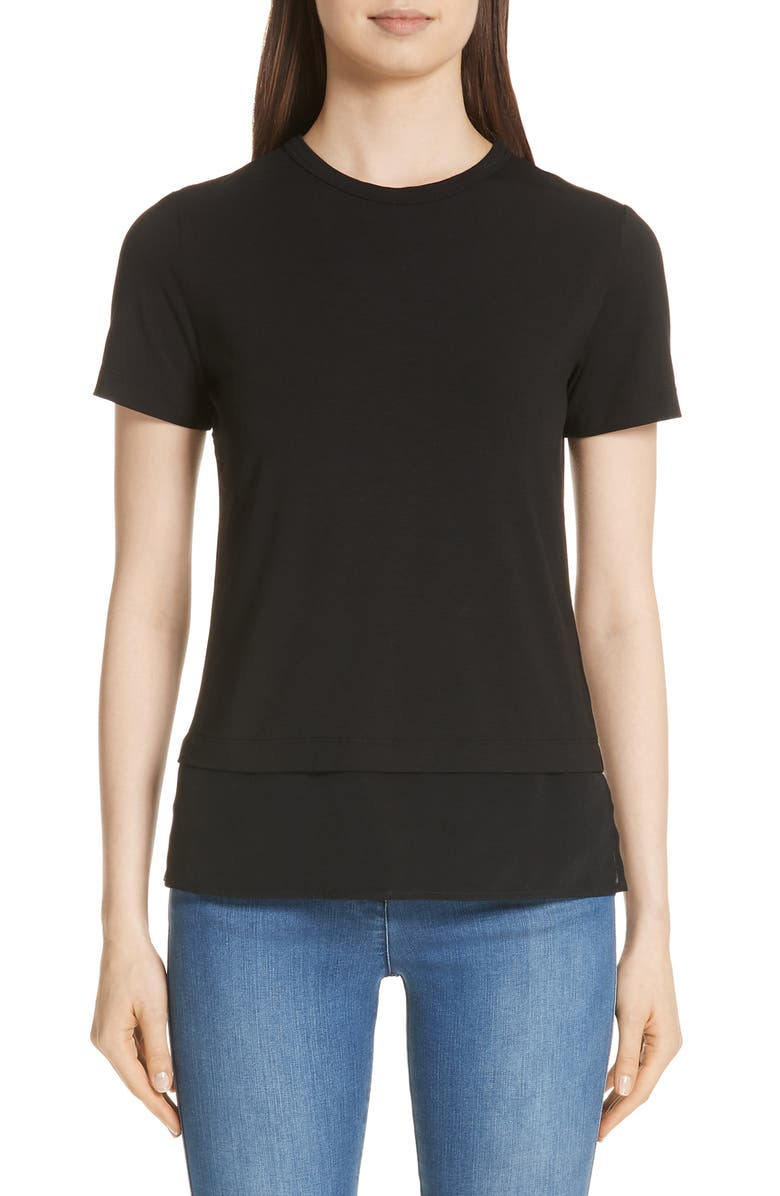 ST. JOHN COLLECTION Contrast Hem Jersey Tee, Main, color, CAVIAR