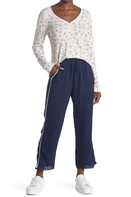 Image of Michael Stars Drawstring Waist Tapered Fray Hem Pants