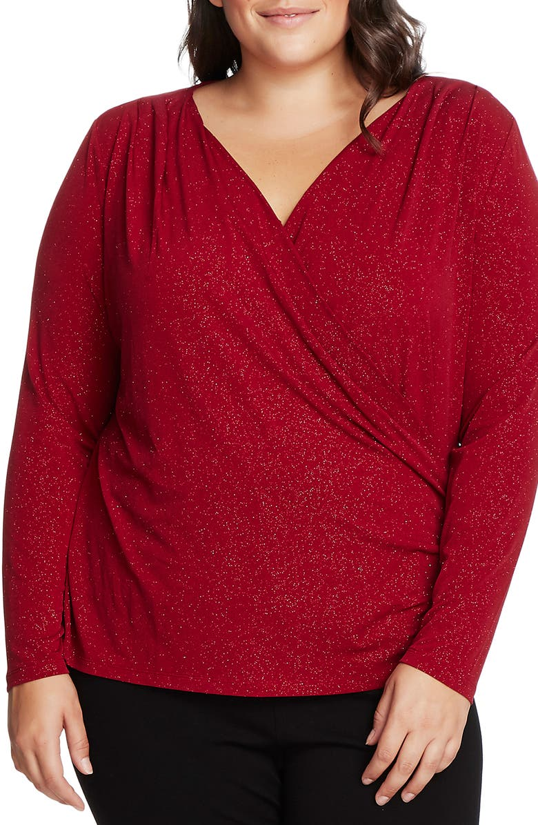 VINCE CAMUTO Faux Wrap Sparkle Jersey Top, Main, color, FLORENCE RED
