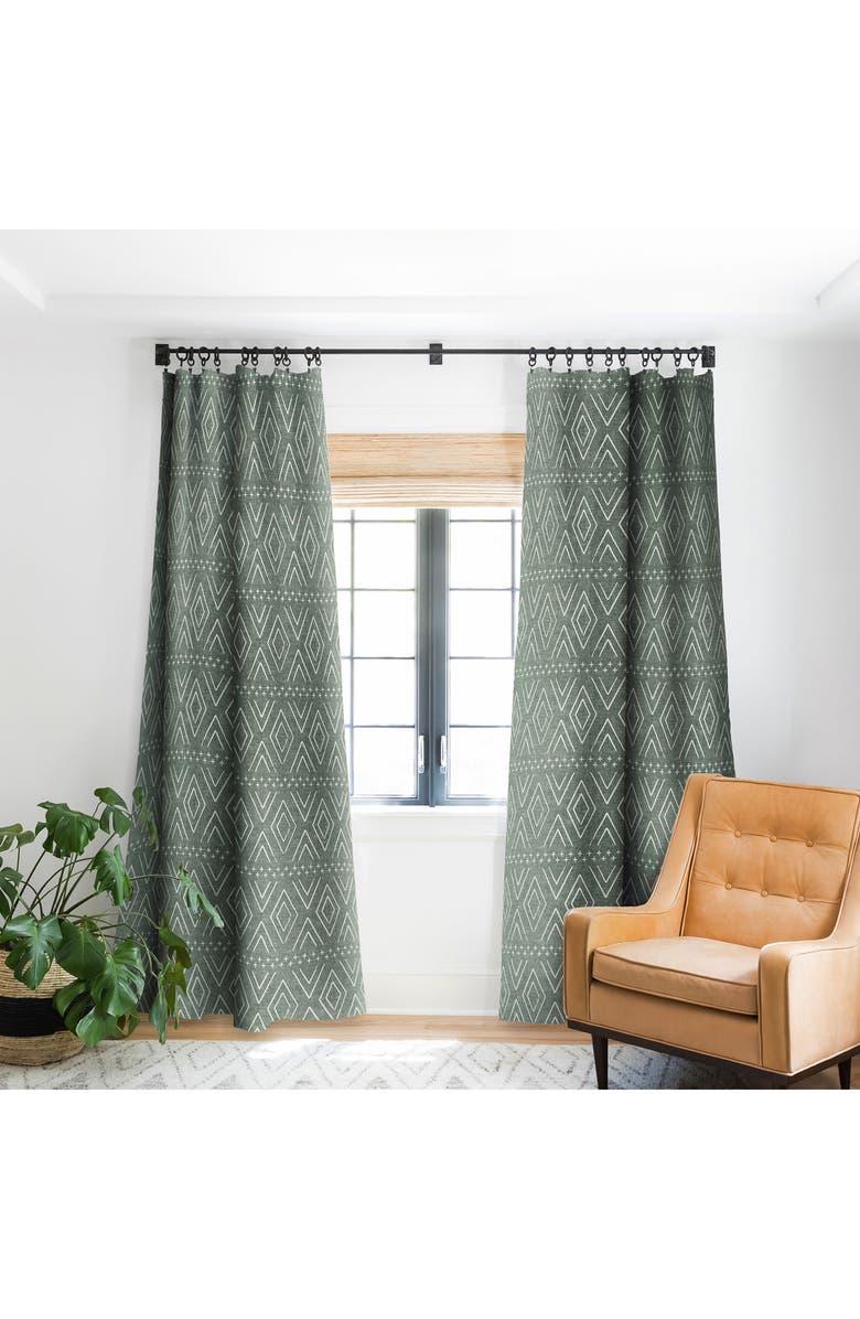 DENY DESIGNS Little Arrow Design Co. Farmhouse Diamond Blackout Window Panel, Main, color, GREEN