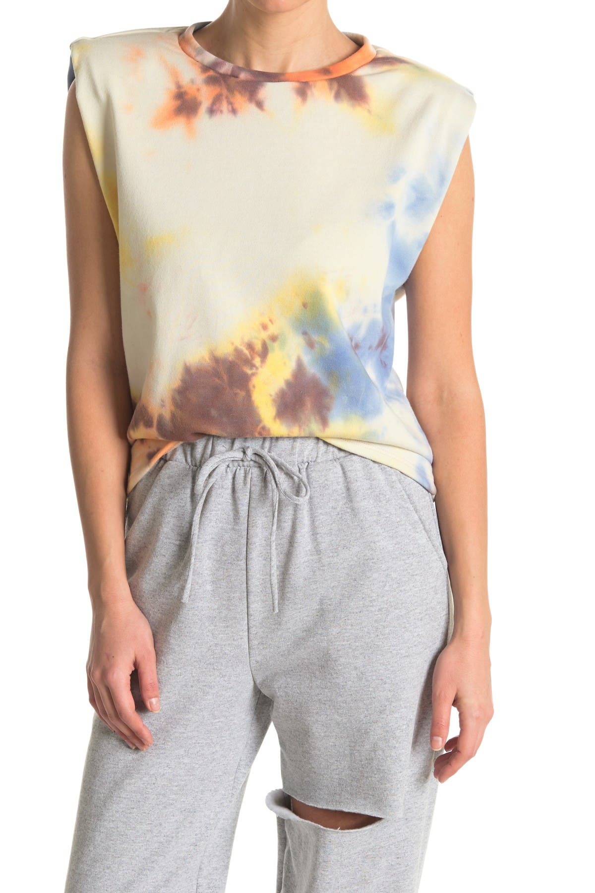 Image of Know One Cares Tie Dye French Terry Shoulder Padded Muscle Tank