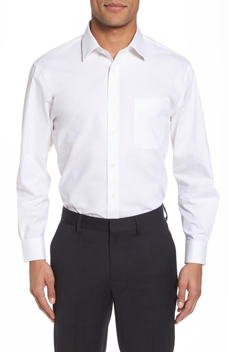 NORDSTROM MEN'S SHOP Tech-Smart Traditional Fit Stretch Pinpoint Dress Shirt, Main, color, WHITE