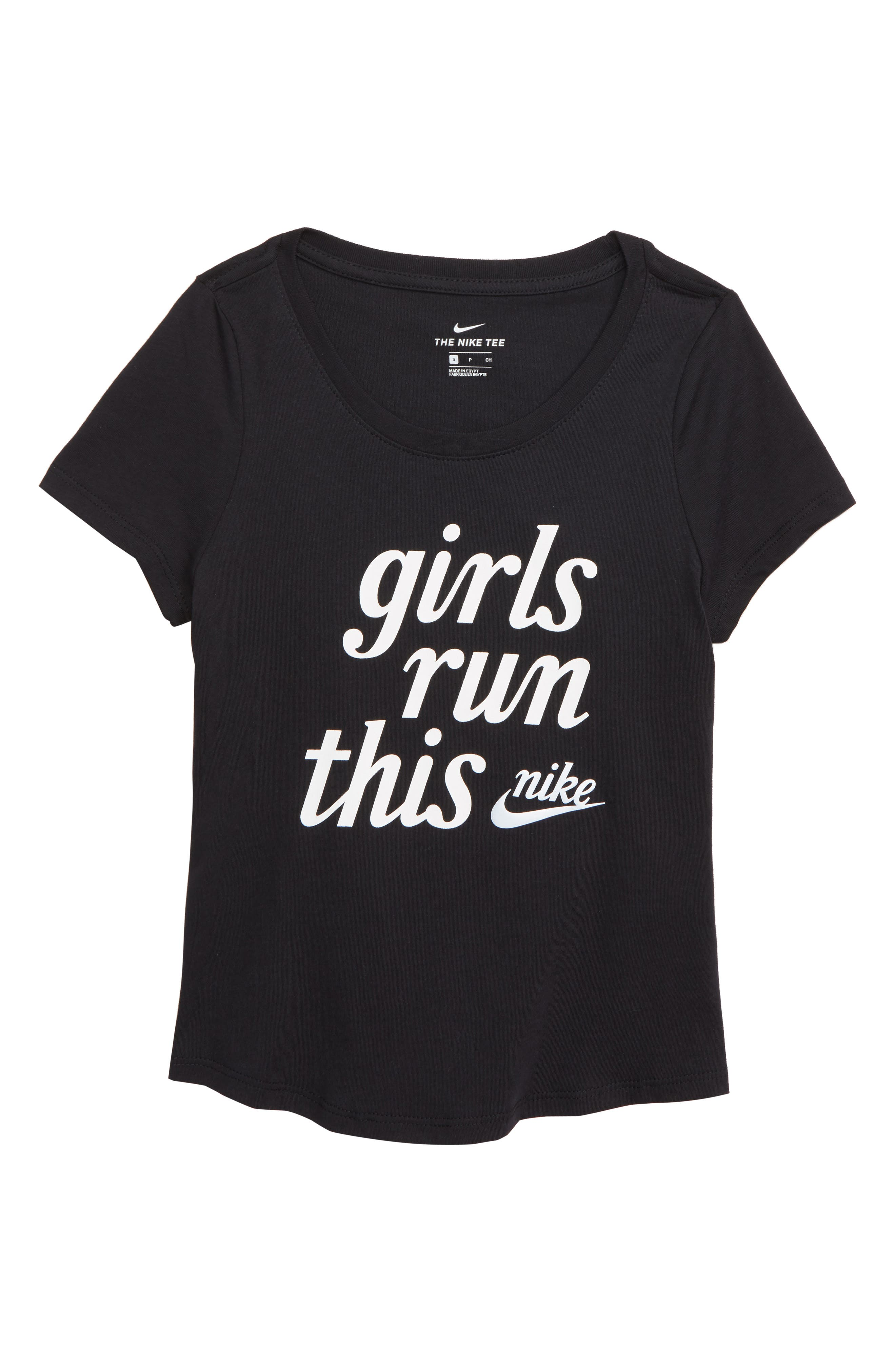 Girls Run This Tee, Main, color, BLACK/ GRAP GRAPHIC 1