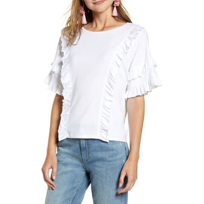 Rachel Parcell Ruffle Tee, White (Nordstrom Exclusive)