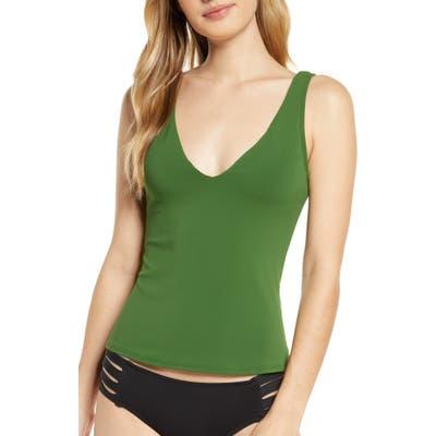 Robin Piccone Ava Tie Back Tankini Top, Green