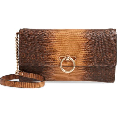 Rebecca Minkoff Jean Snake Embossed Leather Clutch - Yellow