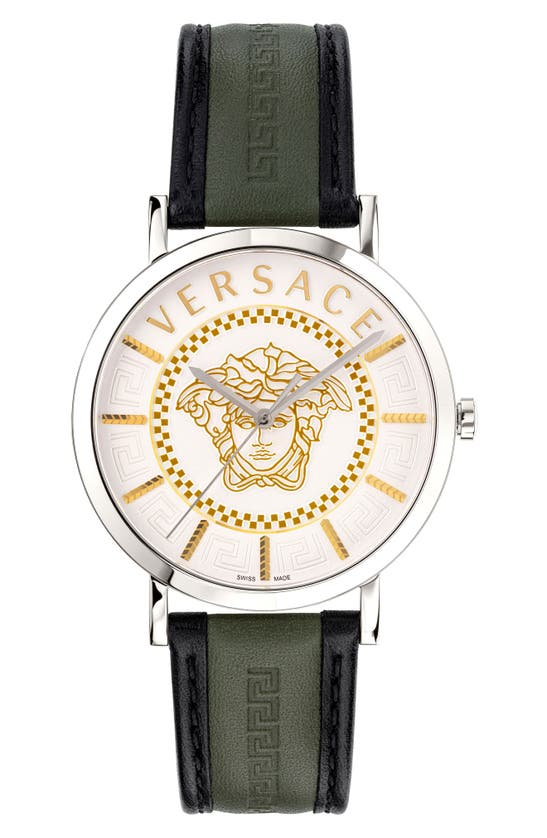 VERSACE V-ESSENTIAL LEATHER STRAP WATCH, 40MM
