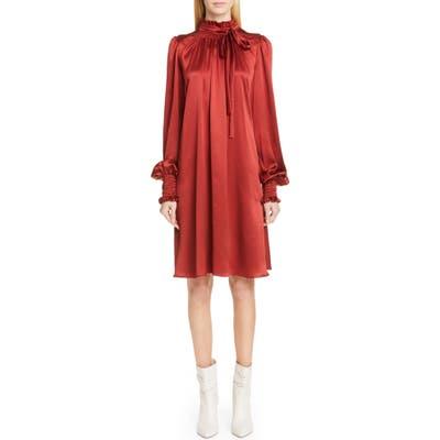 Adam Lippes Silk Charmeuse Long Sleeve Dress, Red