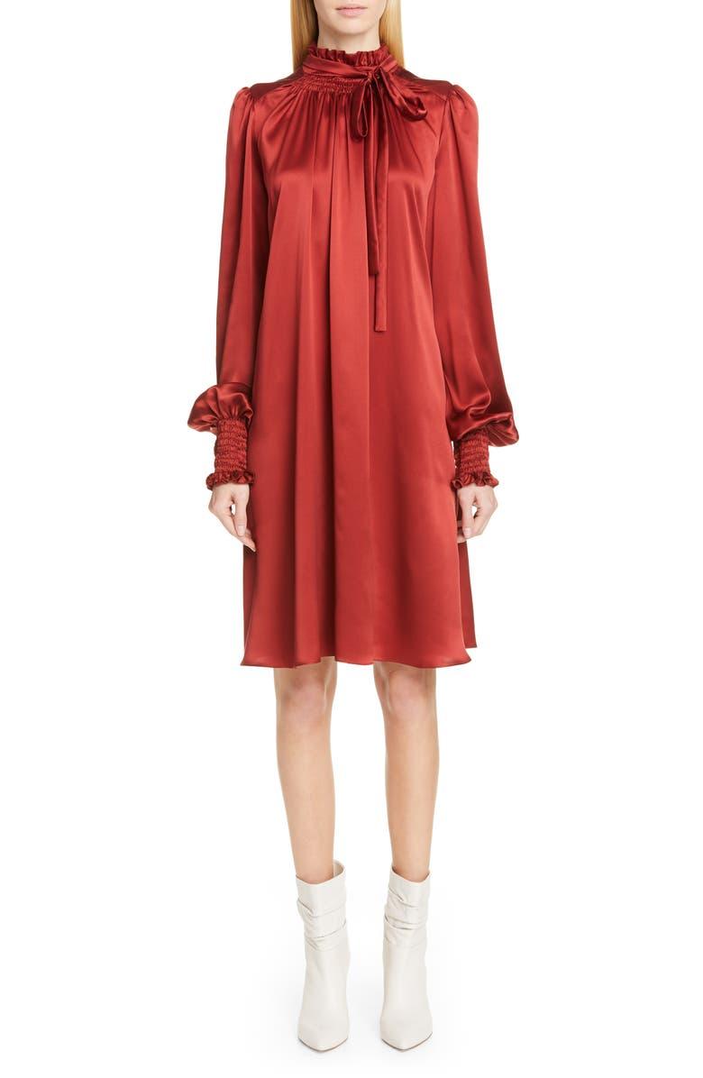ADAM LIPPES Silk Charmeuse Long Sleeve Dress, Main, color, RUST