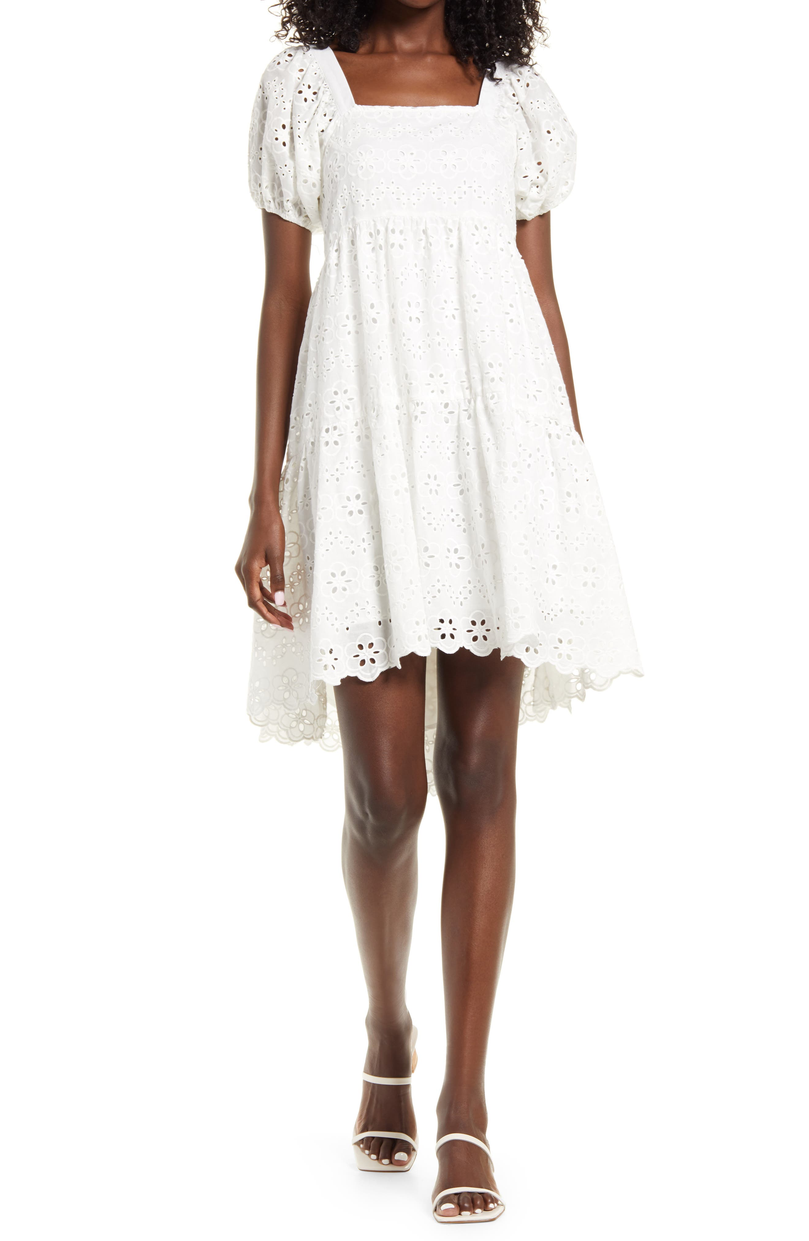 Broderie Anglaise Puff Sleeve Dress