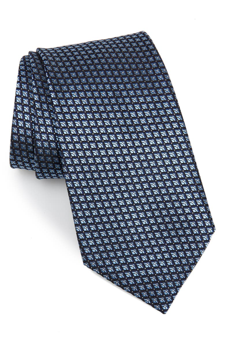 ERMENEGILDO ZEGNA Grid Silk Tie, Main, color, BLUE