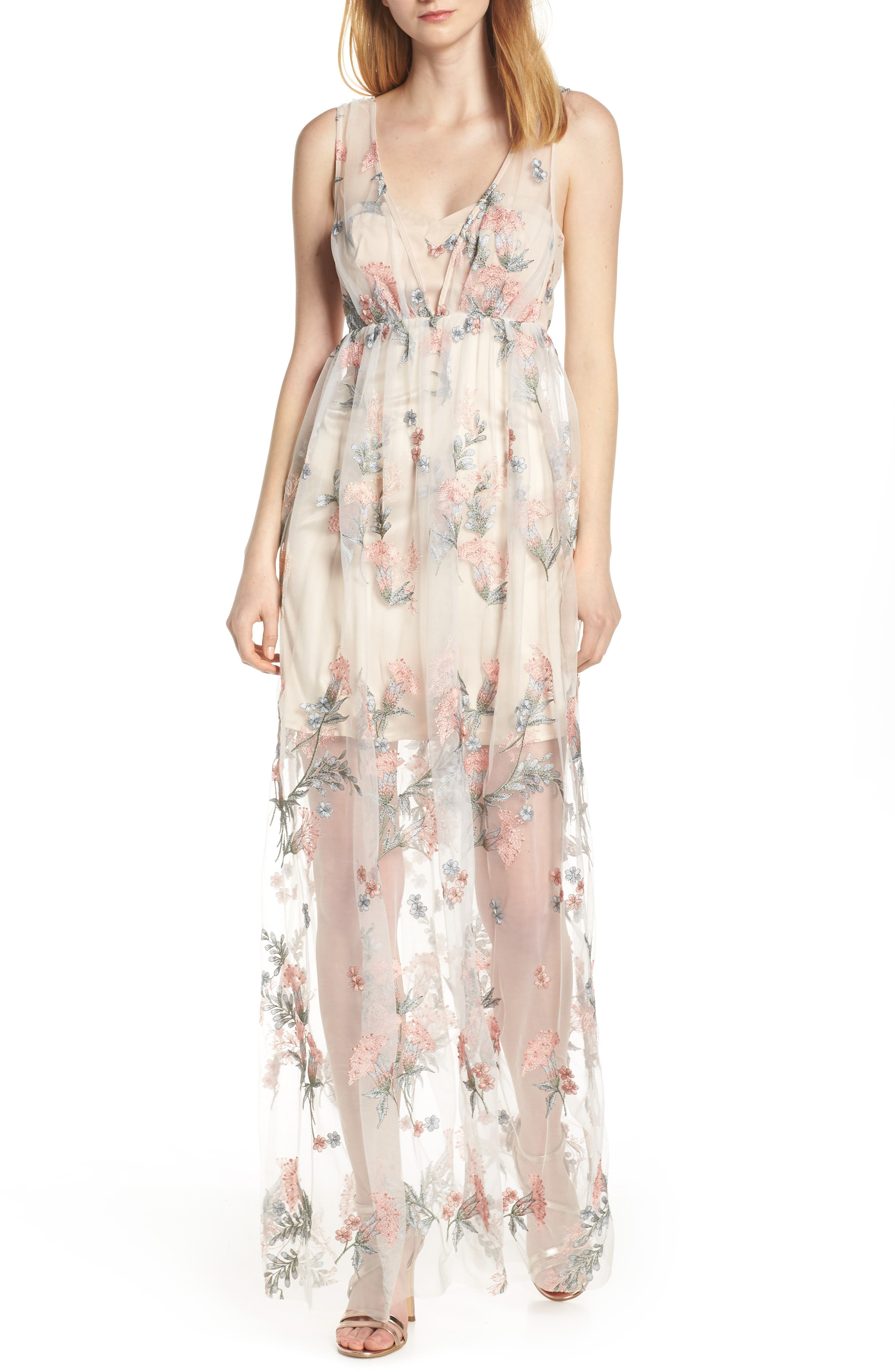 Avec Les Filles Floral Embroidered Maxi Dress, Ivory