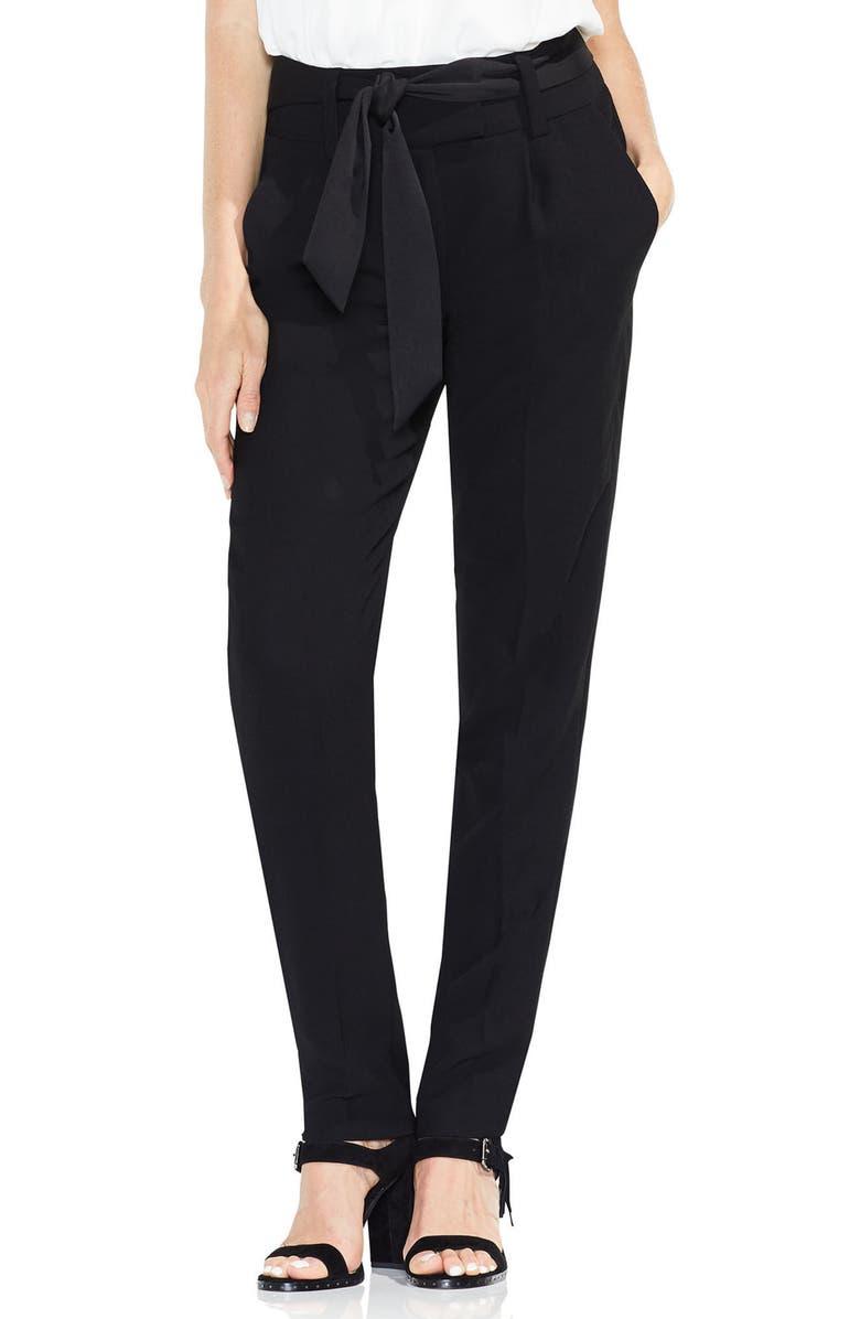 VINCE CAMUTO Matte Shine Crepe Slim Leg Pants, Main, color, RICH BLACK