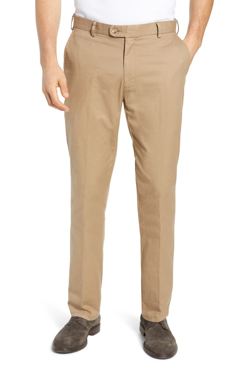 PETER MILLAR Soft Touch Twill Dress Pants, Main, color, BRITISH TAN