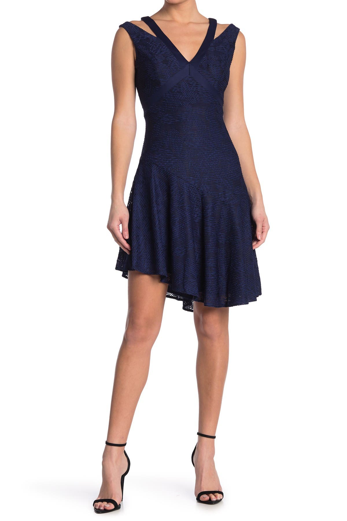 Image of GUESS Asymmetrical Flounce Hem Lacy Dress