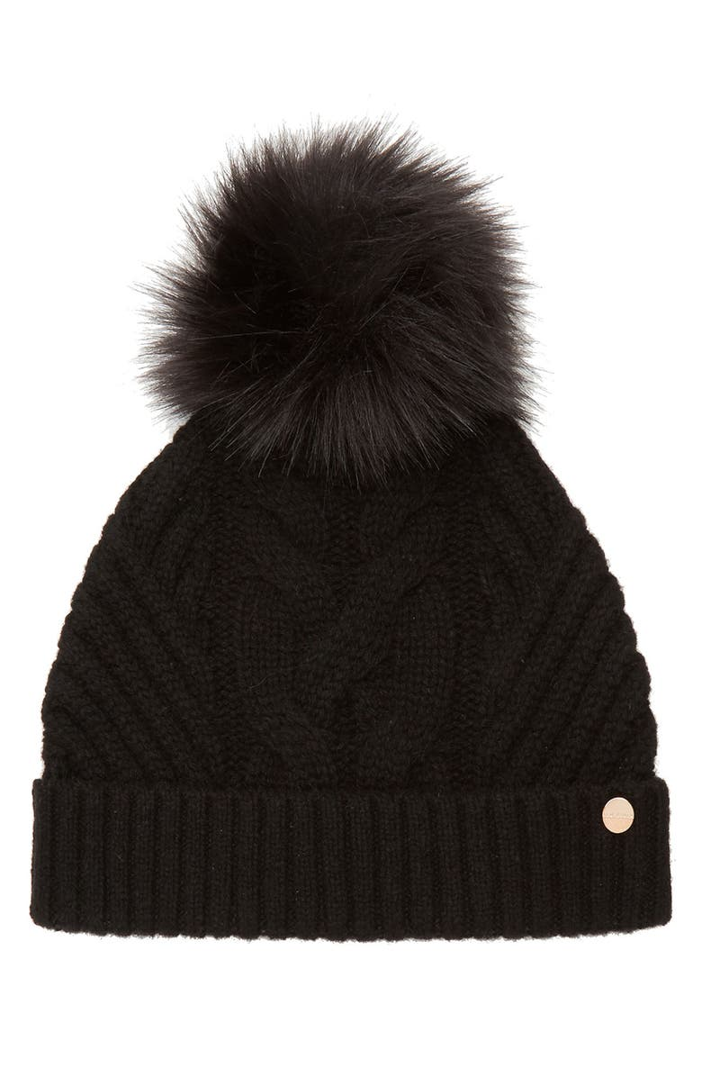TED BAKER LONDON Cable Knit Beanie with Faux Fur Pom, Main, color, 001