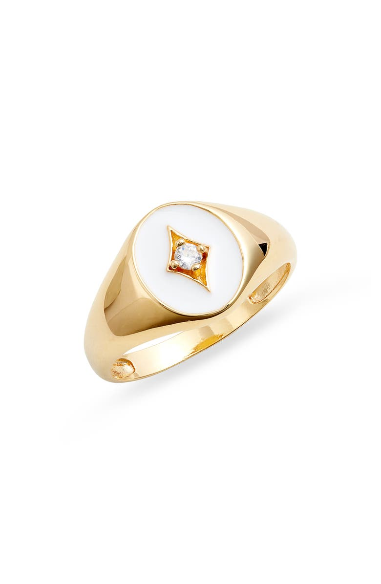 ARGENTO VIVO White Enamel Plated Sterling Silver Ring, Main, color, GOLD/ WHITE