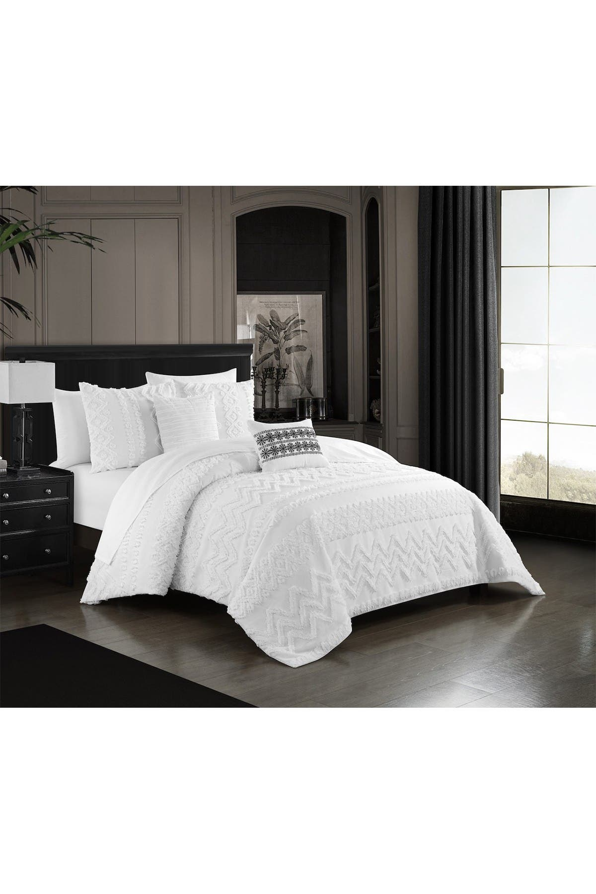 Chic Home Bedding Jenson Jacquard Geometric Design King Comforter Set White 5 Piece Set Hautelook