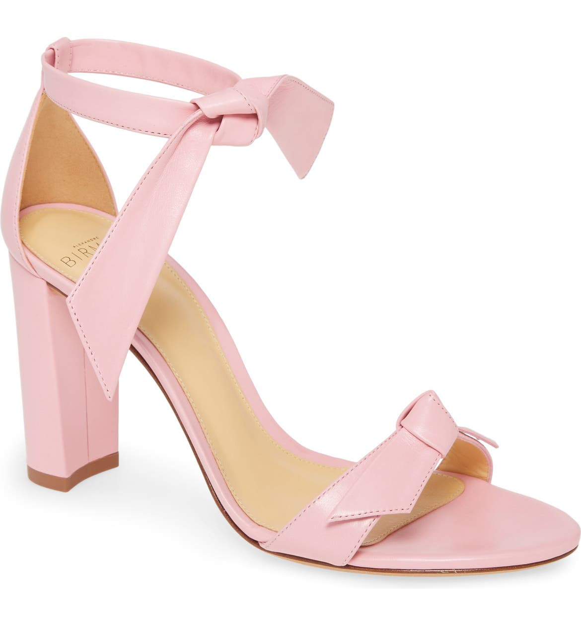 Alexandre Birman pink leather Clarita heels.