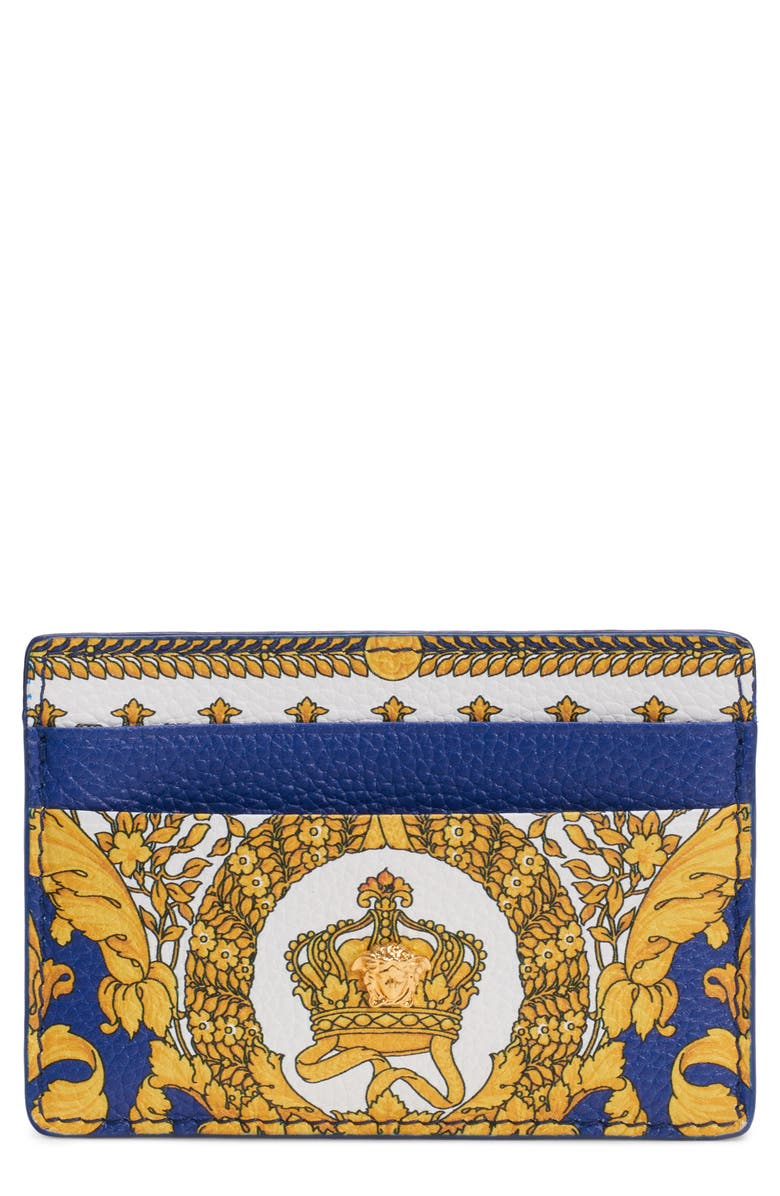 VERSACE Barocco Print Leather Card Case, Main, color, COBALT BLUE/MULTI/GOLD