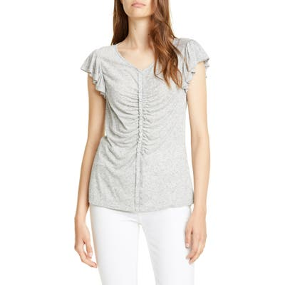 Rebecca Taylor Ruched Seam Flutter Sleeve Tee, Grey