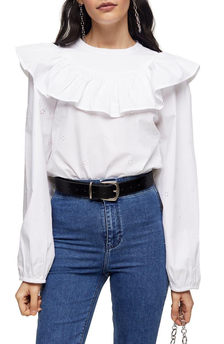 TOPSHOP Ruffle Yoke Cotton Eyelet Blouse, Main, color, WHITE