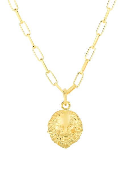 Image of Sphera Milano 14K Yellow Gold Plated Sterling Silver Lion Pendant Necklace