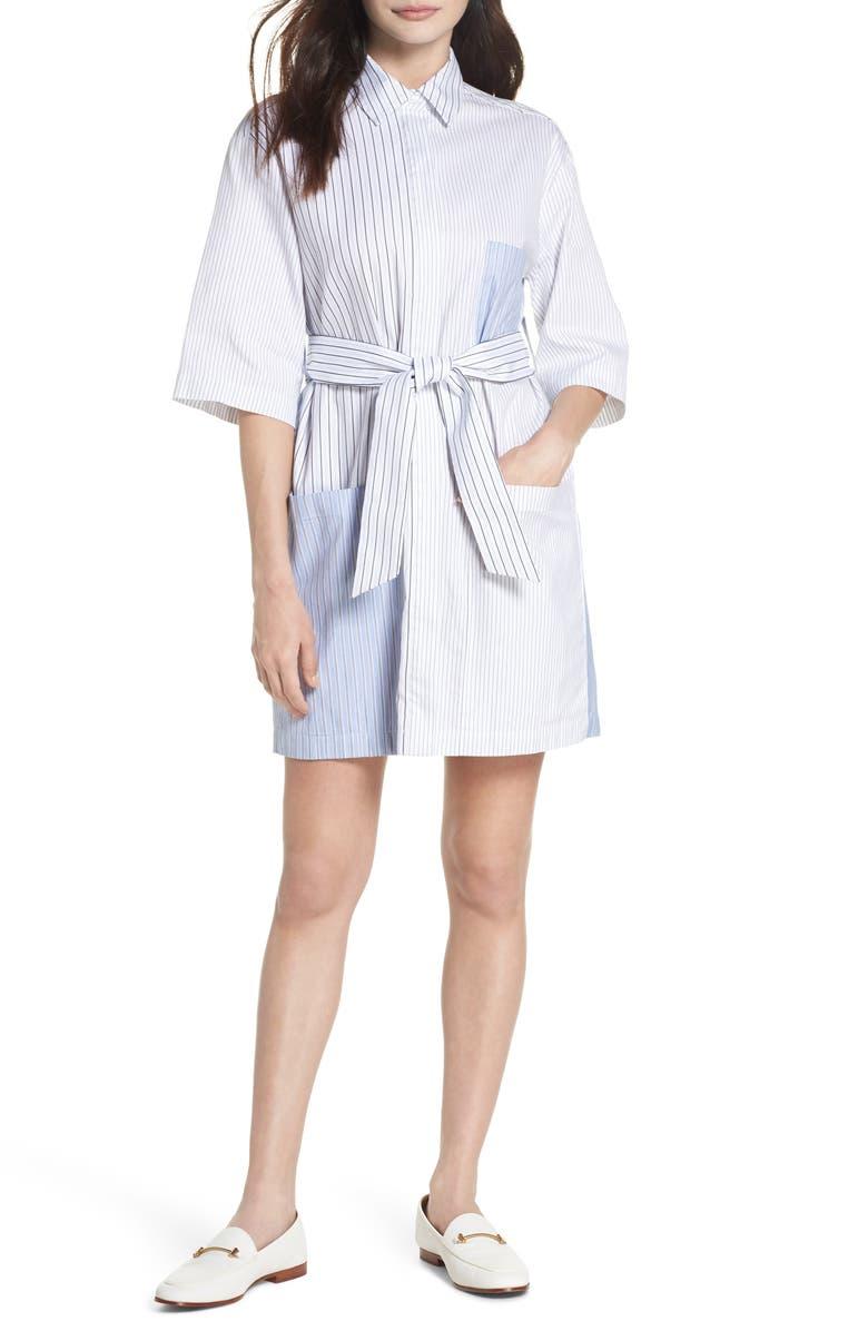 CAARA Leon Multi Stripe Cotton Shirt Dress, Main, color, 160
