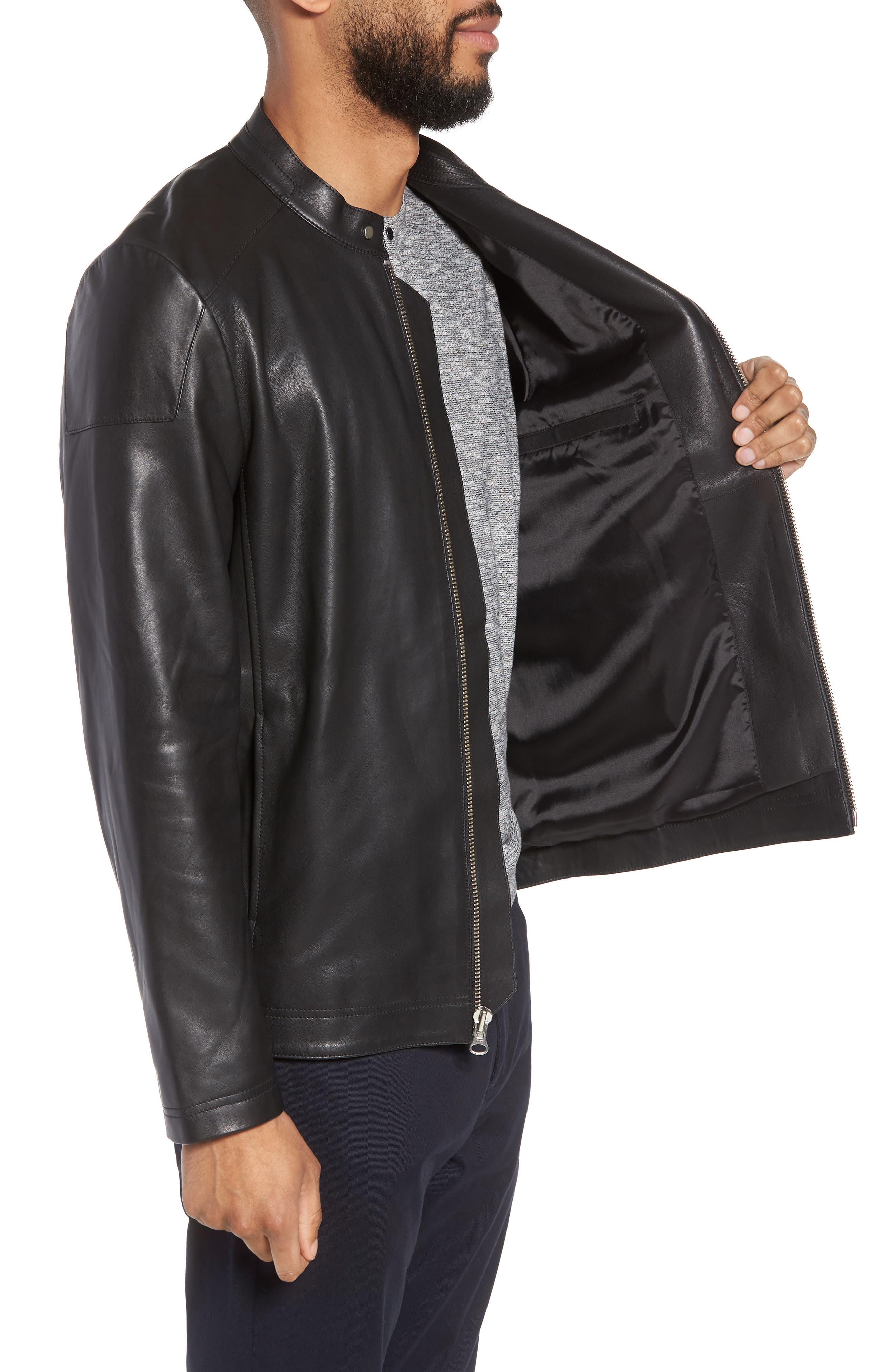 ,                             Leather Moto Jacket,                             Alternate thumbnail 4, color,                             001