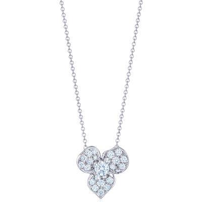 Kwiat Diamond Petal Flower Pendant Necklace