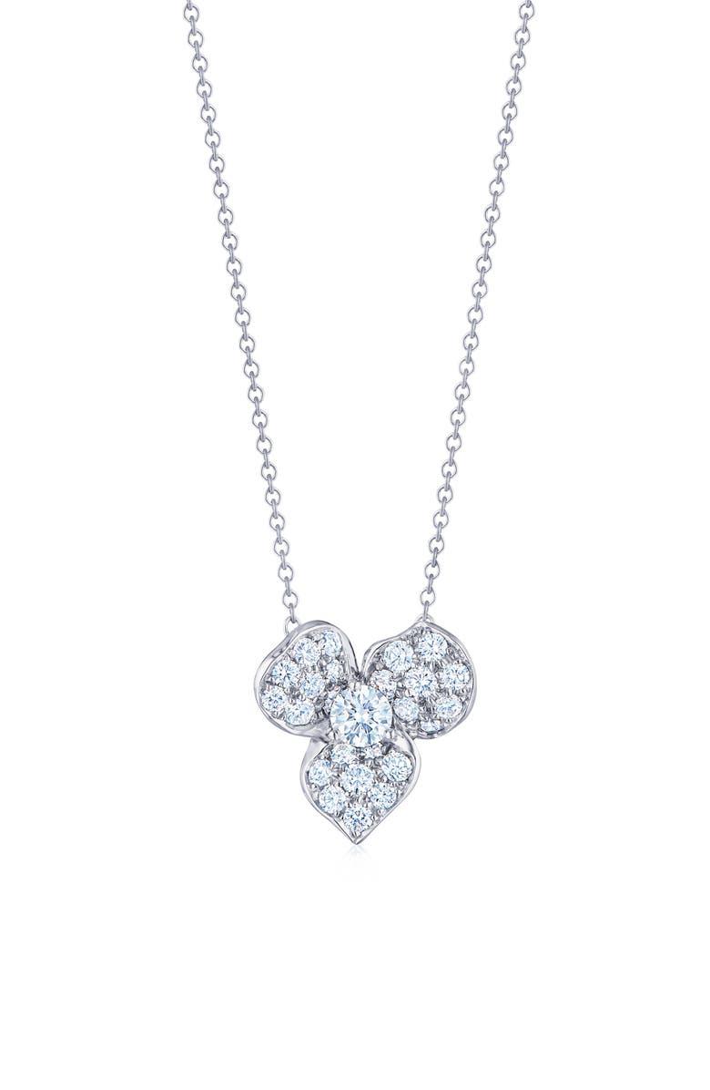 KWIAT Diamond Petal Flower Pendant Necklace, Main, color, WHITE GOLD